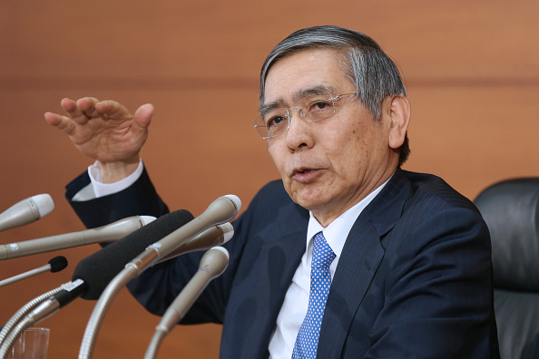Haruhiko Kuroda, governor of the Bank of Japan (BOJ), gestures as he speaks during a news conference at the central bank's headquarters in Tokyo, Japan, on Tuesday, March 17, 2015. Kuroda said he couldn't rule out the risk of consumer prices falling in Japan after the central bank on Tuesday maintained record monetary stimulus. Photographer: Yuriko Nakao/Bloomberg via Getty Images