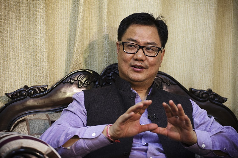 Kiren Rijiju, India's minister of state for home affairs, speaks during an interview in New Delhi, India, on Saturday, Oct. 24, 2015. Prime Minister Narendra Modi's government is finalizing blueprints for a $6 billion highway in Arunachal Pradesh, which is also claimed by China. Construction on the 2,000-kilometer (1,243-mile) road will start as early as 2018, Rijiju said. Photographer: Kuni Takahashi/Bloomberg *** Local Caption *** Kiren Rijiju ORG XMIT: 588264857