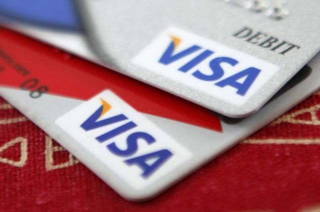 2009年10月27日资料图片,在华盛顿拍摄的Visa银行卡。REUTERS/Jason Reed