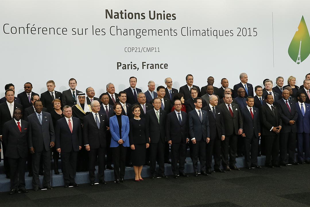 World leaders pose for a group photo at the COP21, United Nations Climate Change Conference, in Le Bourget, outside Paris, Monday, Nov. 30, 2015. (Ian Langsdon, Pool via AP)