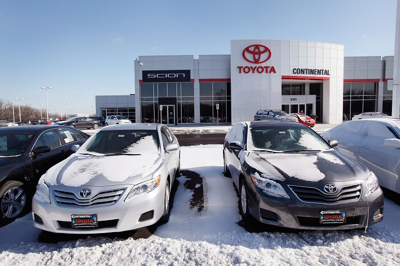 HODGKINS, IL - JANUARY 28:  Toyota vehicles are displayed on the lot at Continental Toyota/Scion January 28, 2010 in Hodgkins, Illinois. Toyota has announced it would expand their recall of millions of vehicles due to a defect in the accelerator pedal assembly.  (Photo by Scott Olson/Getty Images)