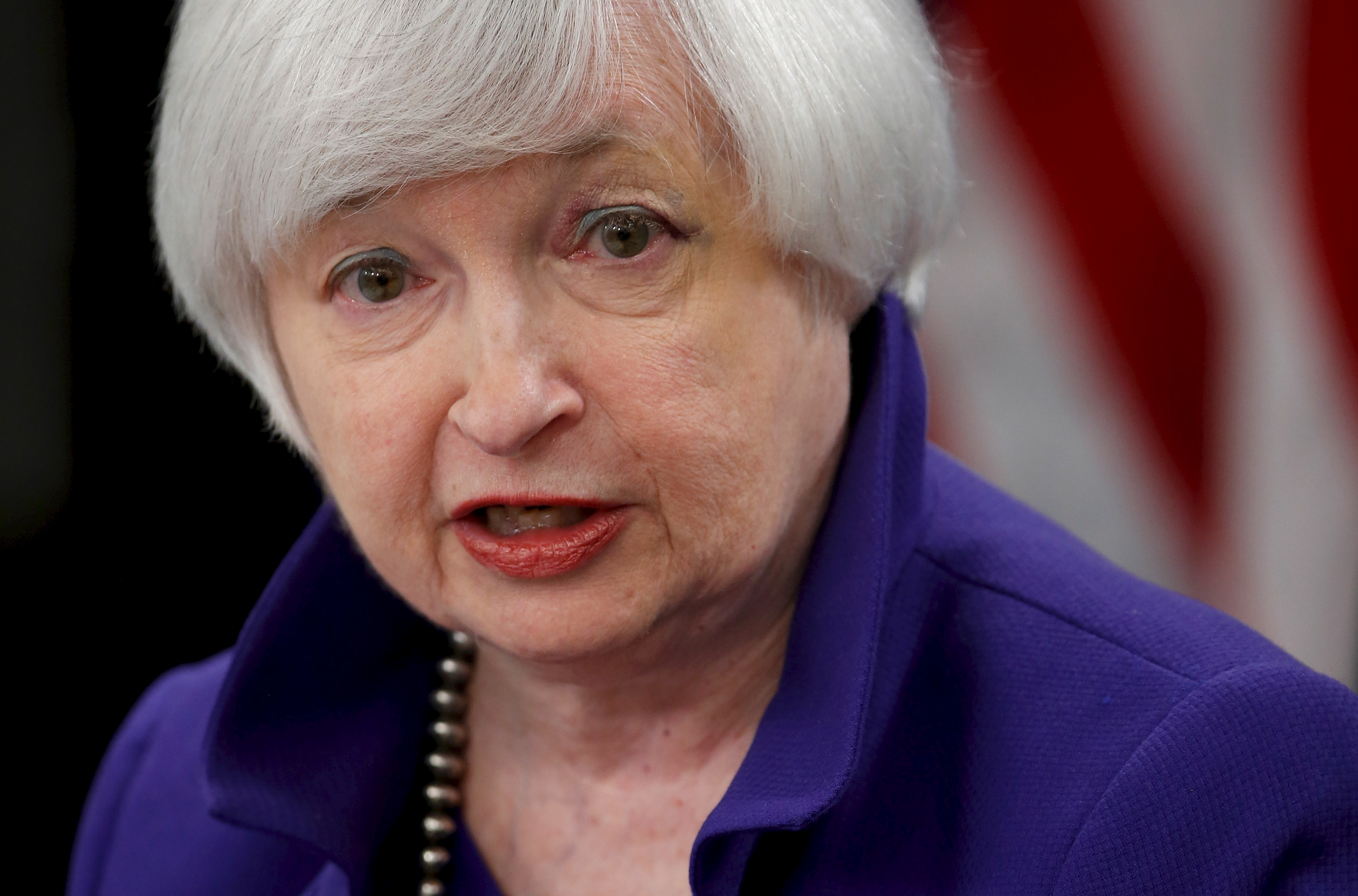 Yellen answers a reporter's question during a news conference in Washington