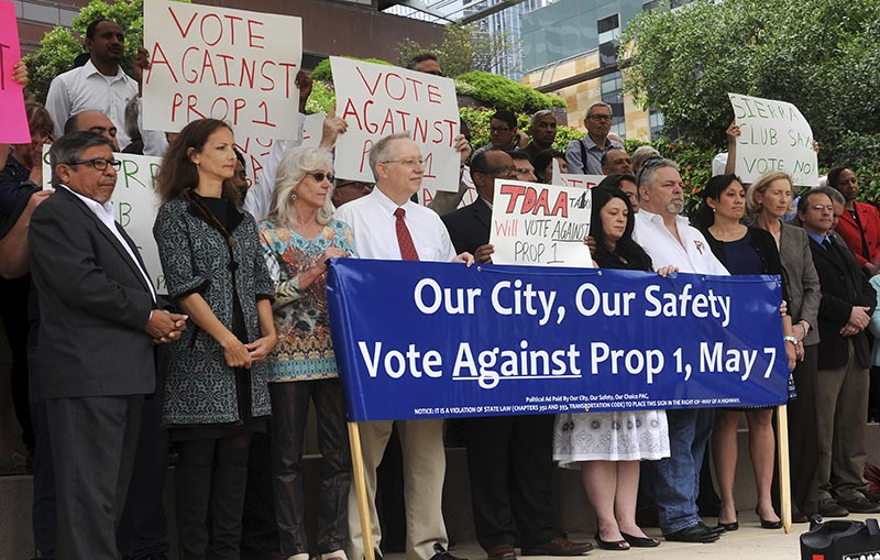 Oppose Prop 1 press conference at City Hall on April 12, 2016